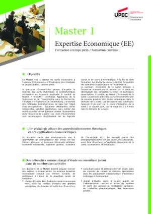 image Plaquette de présentation Master 1 mention expertise économique