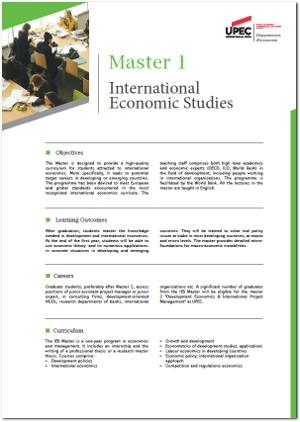 Image plaquette de présentation Master 1 International economics studies version anglaise
