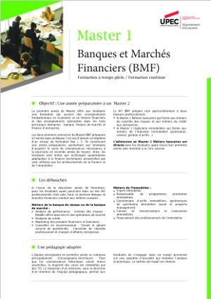 Image plaquette de présentation Master 1 mention banques et marchés financiers