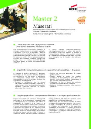 Image plaquette de présentation Master 2 Maserati formation initiale