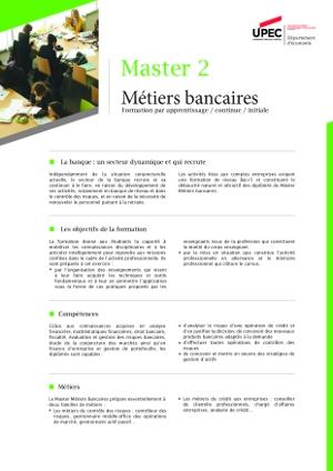 Image plaquette de présentation Master 2 métiers bancaires